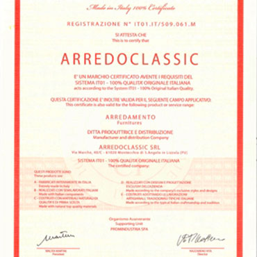 arredoclassic made in italy certificato